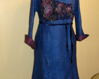 Nunofelted l dress, wonderfully beautiful roses, 2 in1 blue long
