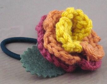 Crocheted Rose Ponytail Holder or Bracelet - Serenity (SWG-HP-SE03)