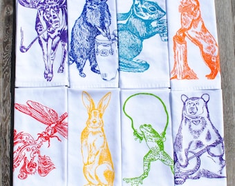Animal Cotton Napkins - Multi Color Screen Printed Napkin Set of 8 - Washable Reusable - Wildlife Animals - Wilderness - Forest - Country