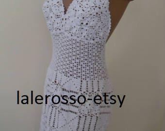 Long white dress crochet