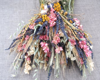 Warm Wildflower Wedding Table Arrangement Lavender Coral Blush Ivory Pink Larkspur Yellow Tansy Yarrow Wheat Dried Flowers Centerpieces