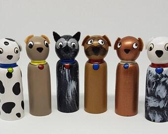 Hairy Maclary peg doll dogs