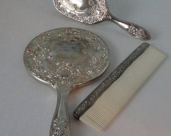 1950s 3 pcs. Child Set Silver tone metal Mirror, Brush and Comb. Child  Vanity Set.