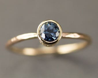 Blue Sapphire Engagement Ring -  14k Gold Scroll Bezel Set Solitaire Ring  - Genuine Sapphire Ring