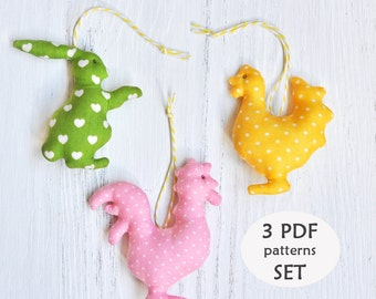 Set of 3 Easter Patterns. Easter Bunny Sewing Pattern. Chick Pattern. Rooster Sewing Pattern. Easter Sewing Projects. Easter Sewing Patterns