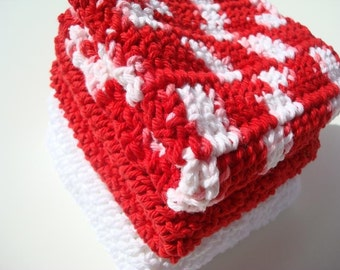 3 Cotton Washcloths - Red, Bright White, Peppermint Wash Cloths, Dishcloths, Dish Cloths - Christmas Kitchen Holiday Home Decor