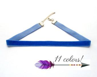 Choker Necklace Blue Choker Necklace Blue Velvet Choker 10mm Velvet Choker Plain Choker Plain Velvet Necklace Blue Necklace Ribbon Choker