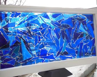 "SOLD Blue stained glass mosaic transom window or sun catcher glass on glass window 27 1/2"" x 14 1/2"" x 1 5/16"" old window"
