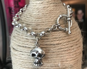 Men's Skull Bracelet Sterling Silver With Toggle Catch Skeleton Head Charm Dangle Rolo Chain Bracelet Artist Made One Of A Kind Skully
