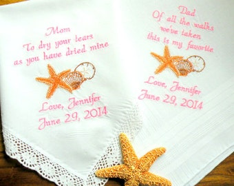 Embroidered Wedding Handkerchiefs Beach Wedding Mother of the Bride Father of the Bride Personalized Custom Embroidered Wedding Hankerchiefs