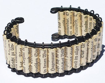 Paper German Jewelry- German Upcycled Paper Bead Bracelet, Cuff Bracelet, Paper Bead Jewelry, Book Jewelry, Paper Jewelry, Book Lover Gift