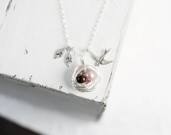 Silver Birds Nest Necklace with 1 2 3 4 5 Birthstone Color Pearls | Sterling Silver | Hand Stamped Leaf Initials | Swirled Sparrow