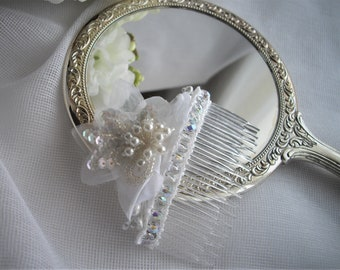 Veil Hair Comb Crystal Czech Glass Beads With Sequins And Pearls Wedding Reception Designed To Make You Shine Marilyn handmade handcraftusa