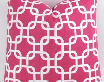 Throw Pillow Cover, Hot Pink chain link pattern -MANY SIZES- gotcha candy magenta white geometric rope knot cushion euro sham Premier Prints