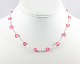 Pink Necklace - Girl's Necklace - Child's Beaded Necklace - Seed Bead Jewelry - Children's Jewelry - Kid's Jewelry