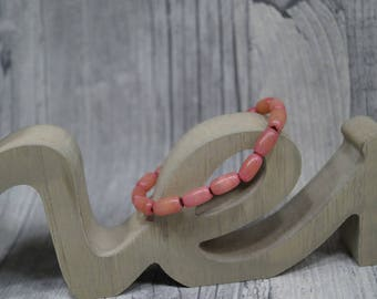 Palm seed bracelet pink elastic