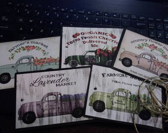 5 pc vintage  truck ornaments thin wooden tags with twine