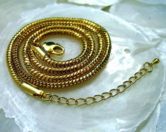 18 K Gold Plated 3mm Chain Upgrade Adjustable 18 1/2  to 21 inches