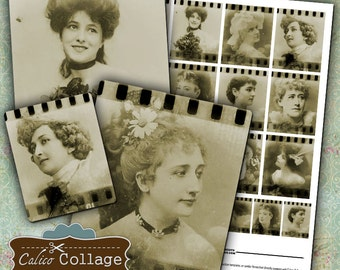 Vintage Film Ladies Collage Sheet Altered Art Journal Page Digital Collage Sheet Scrapbooking Instant Download Mixed Media Art
