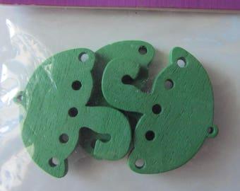 Set of 3 umbrellas in green color wood (pendant)