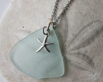 Sea glass pendant, Seaglass pendant, ocean pendant, blue pendant, white pendant, star fish pendant, nautical pendant, sea glass, sea glass