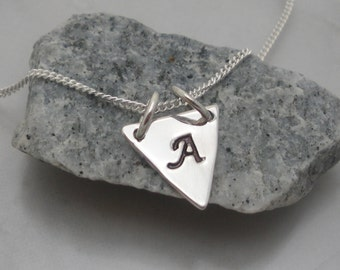 Dainty Triangle Necklace, Layering Necklace, Initial Triangle Charm, Geometric Jewelry, Sterling Silver, Personalized, Hand Stamped