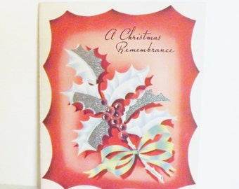 Vintage Christmas card holly with foil accented leaves