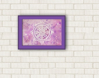 "Buddhist wall decor living room, dharma wheel healing energy, yoga home 7"" x 10"", italian gifts, fine art painting, under 50 dollars."
