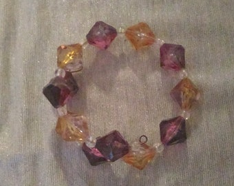 Purple, Orange, and White Beaded Wraparound Bracelet