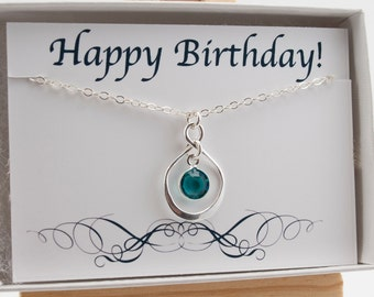 December Birthday Gift with Card Set, Infinity Necklace Sterling Silver, December Birthstone Necklace, Blue Zircon Crystal, Happy Birthday