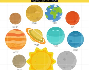 Outer Space Planets, Outerspace, Planets, Galaxy, Solar System Digital Clip Art For Planner Stickers, Scrapbooking, Journal, Art Pieces