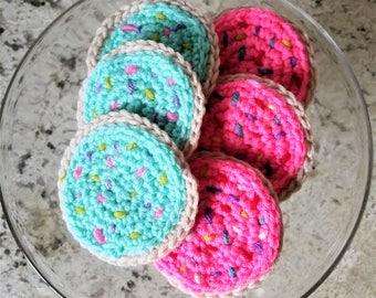 Set of 3-Sugar Cookies Pink Frosting  & Sprinkles Crochet Amigurumi