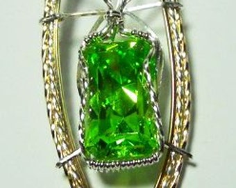 Faceted Green Cubic Zirconia Pendant