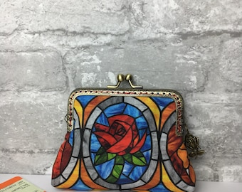 Beauty and the Beast Large Coin Purse ~ Credit Card Size ~ Red rose ~ Belle ~ Stained Glass ~ Beautiful Gift x