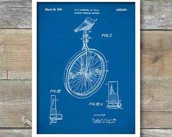 Patent Prints, Unicycle Art Print, Patent, Unicycle Vintage Art, Blueprint, Poster, Wall Art, Bicycle Décor, P211