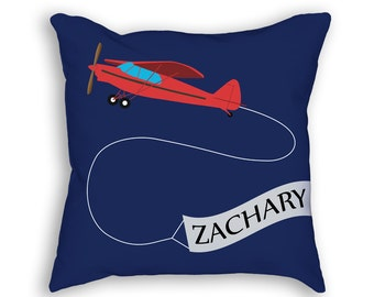 Airplane Nursery Pillow, Custom Airplane Pillow, Custom Boys Room Decor, Personalized Pillow, Airplane Throw Pillow