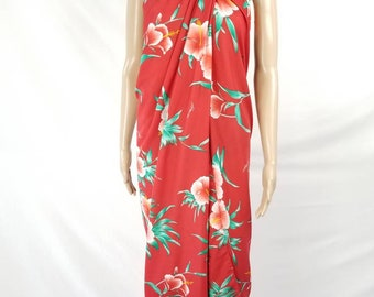 Hawaiian Helenas Wrap Dress Swimsuit Cover up Red Floral Hibiscus