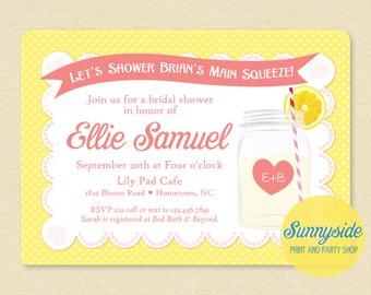 Lemonade Invitation, Summer Bridal Shower invite, vintage shower, lemons, mason jar, main squeeze - Pink, Yellow, Printable