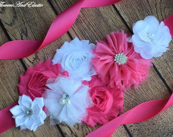 Hot pink white Sash , flower Belt, maternity sash, wedding sash, flower girl sash, maternity sash belt