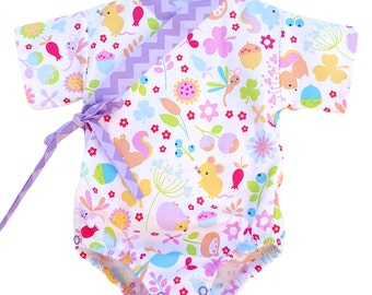 Baby Kimono Bodysuit - Little Critters - baby toddler - cute baby clothes japanese jinbei