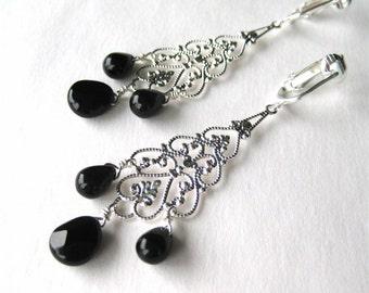 Black Silver Chandelier Clip-on Earrings, Black Teardrops, Silver Filigree Clipons, Lightweight Long Clip Earrings, Handmade, Janet