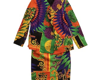 Authentic Vintage Versace Woman Business Suit Blazer & Skirt