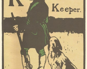 K for Keeper Gamekeeper by William Nicholson 1898 Lithograph Alphabet Print Woodblock Print 1975 Poster Print Home Decor Print Fine Art