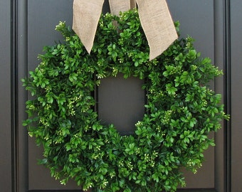 Spring Summer Boxwood Wreath, Boxwood Wreath, Door Wreaths, Natural Looking Boxwood Wreath, Artificial Boxwood Wreaths