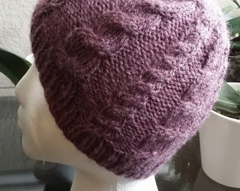 Knitted cable hat, Knit hat, knit hat for women