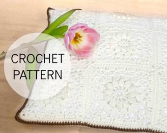 PDF Crochet Pattern - Popcorn & Lace Square Pillow - US and UK terms - crochet cushion, crochet pillow, crochet square