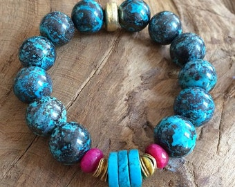 Chrysocolla Bracelet / Arizona Turquoise Bracelet / Bohemian Bracelet / Gemstone Bracelet