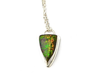 """Ammolite Fossil Necklace, Fossil Pendant Necklace, Fossil Necklace in Sterling Silver """"Rey"""" Ammolite Fossil Necklace"""