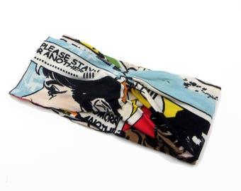 Comic strip print headband/Rockabilly headband comics/Head wrap Pin up/Comic strip knotted headband/Turban Headband Pop art/headband fitness