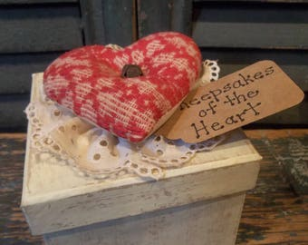 Primitive Valentines Decoration or Gift - Vintage Coverlet Heart on Painted Paper Mache Box
